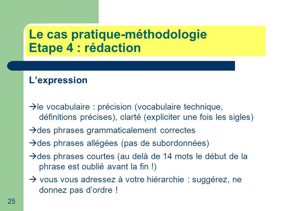 Le cas pratique-méthodologie Etape 4 : rédaction