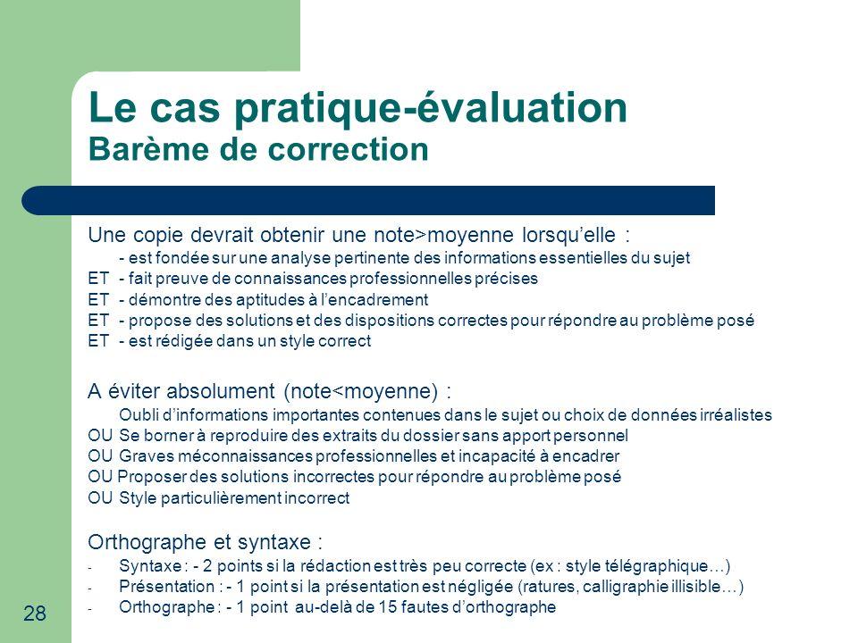 Le cas pratique-évaluation