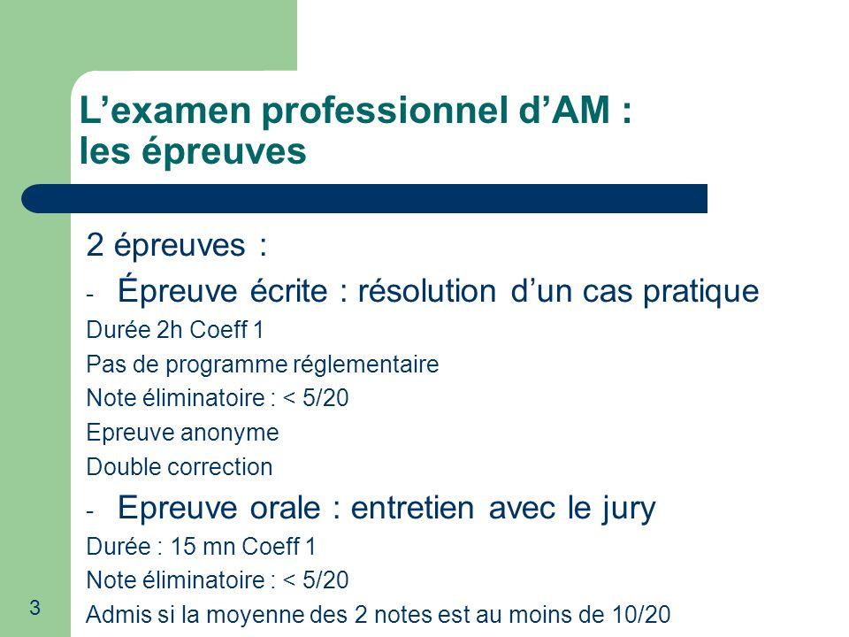 L'examen professionnel d'AM : les épreuves