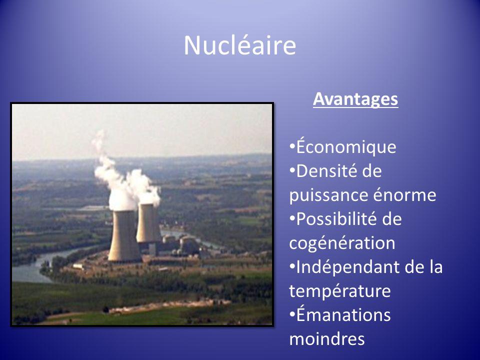 Nucléaire Avantages Économique Densité de puissance énorme