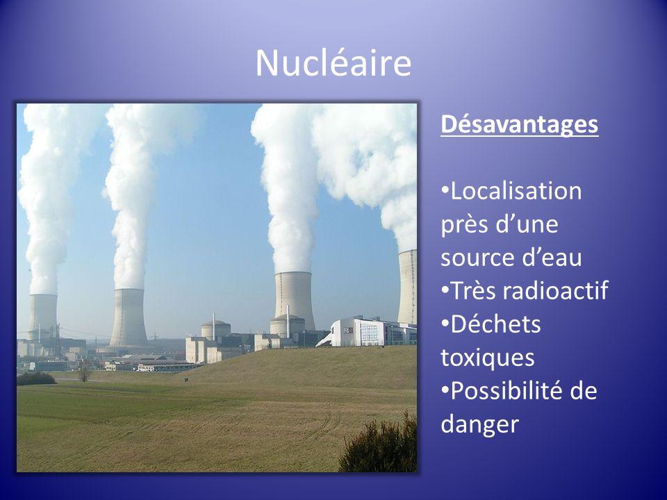 Nucléaire Désavantages Localisation près d'une source d'eau