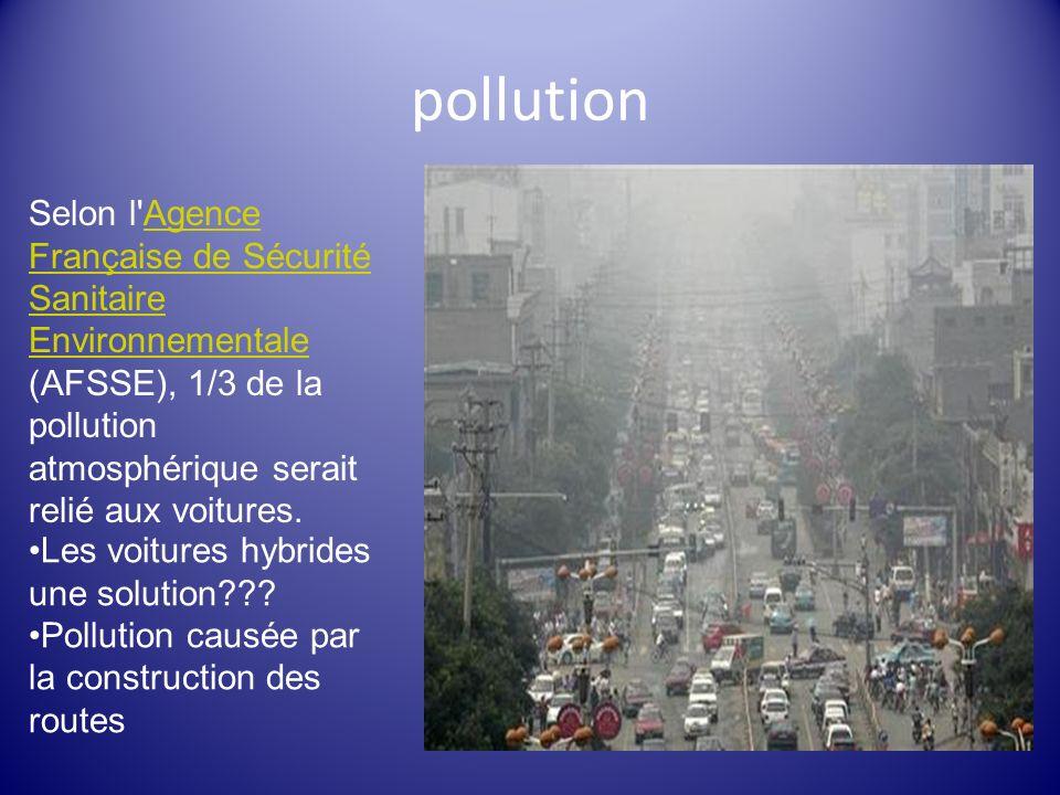 pollution Selon l Agence Française de Sécurité Sanitaire Environnementale (AFSSE), 1/3 de la pollution atmosphérique serait relié aux voitures.