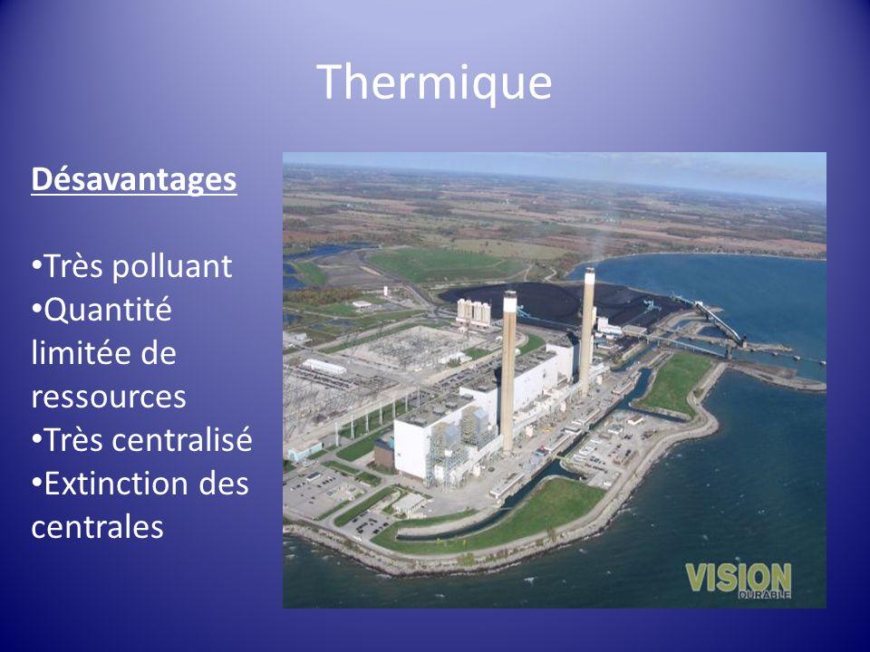 Thermique Désavantages Très polluant Quantité limitée de ressources