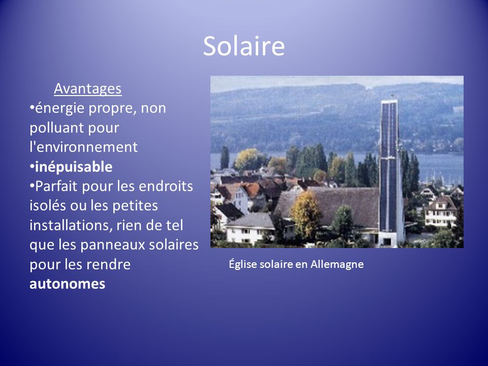 Solaire Avantages énergie propre, non polluant pour l environnement