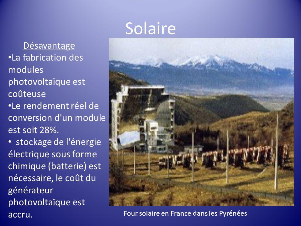 Solaire Désavantage. La fabrication des modules photovoltaïque est coûteuse. Le rendement réel de conversion d un module est soit 28%.
