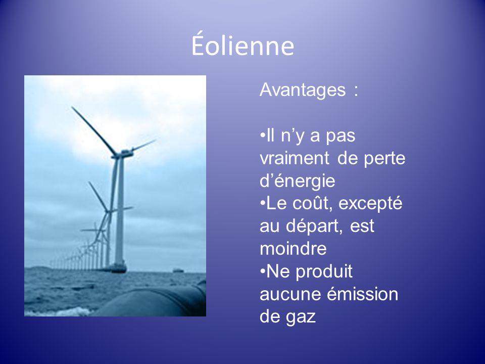Éolienne Avantages : Il n'y a pas vraiment de perte d'énergie