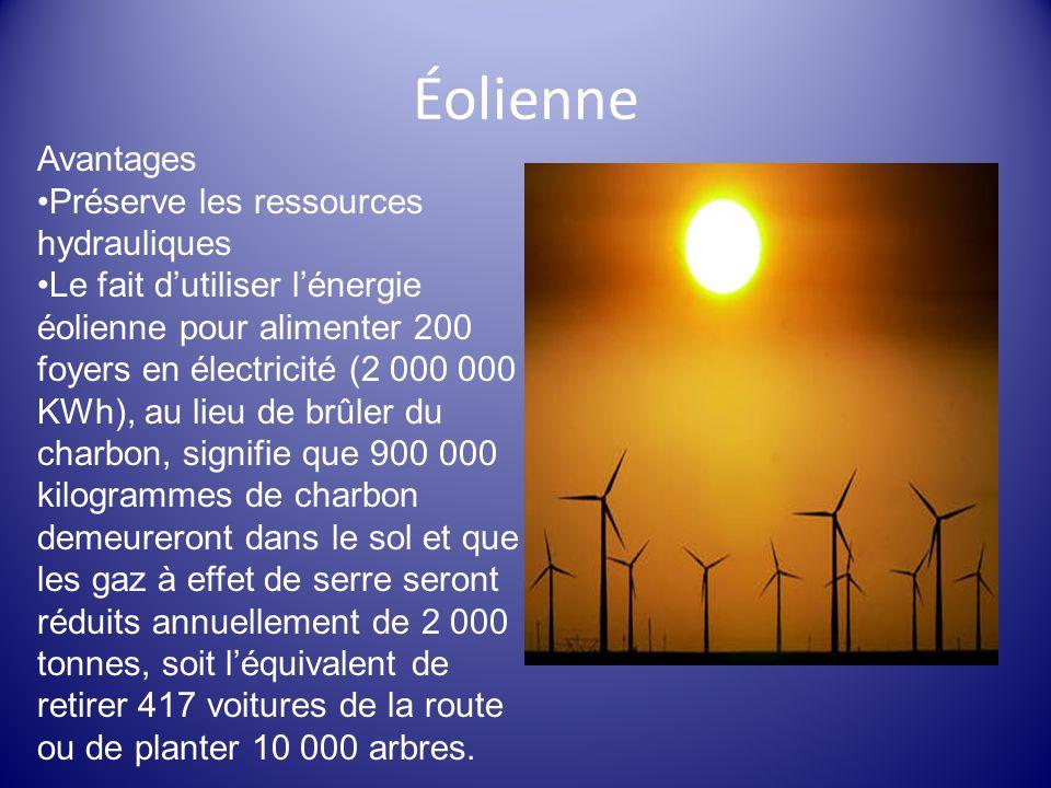 Éolienne Avantages Préserve les ressources hydrauliques