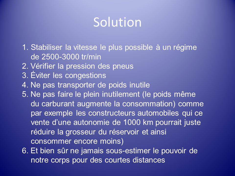 Solution Stabiliser la vitesse le plus possible à un régime de 2500-3000 tr/min. 2. Vérifier la pression des pneus.