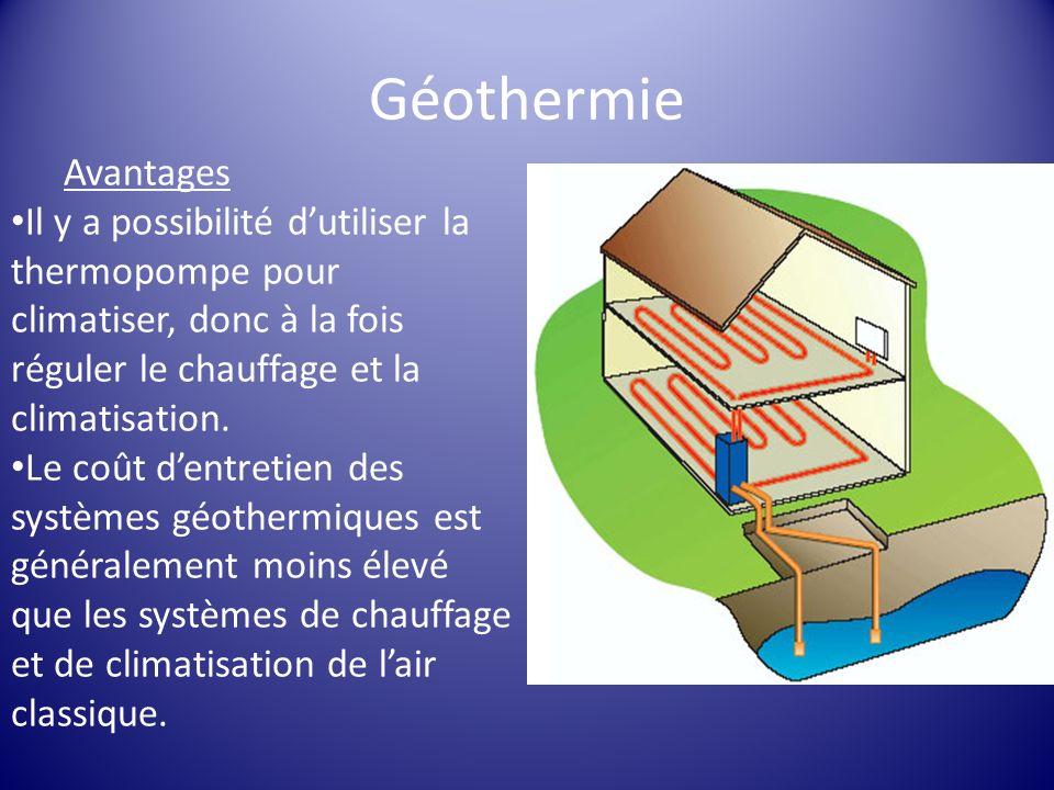 Géothermie Avantages. Il y a possibilité d'utiliser la thermopompe pour climatiser, donc à la fois réguler le chauffage et la climatisation.