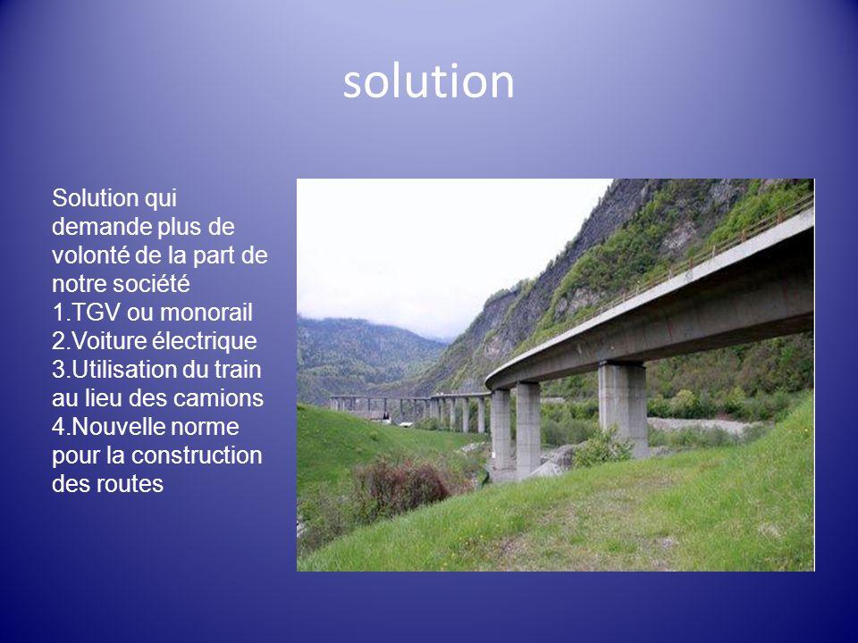 solution Solution qui demande plus de volonté de la part de notre société. TGV ou monorail. Voiture électrique.