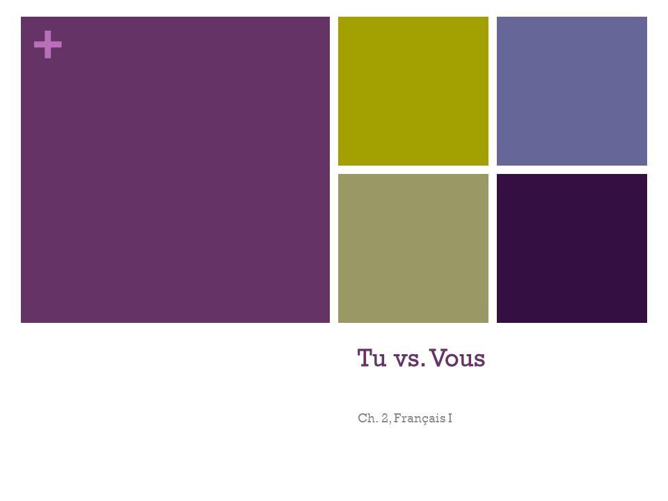 Tu vs. Vous Ch. 2, Français I