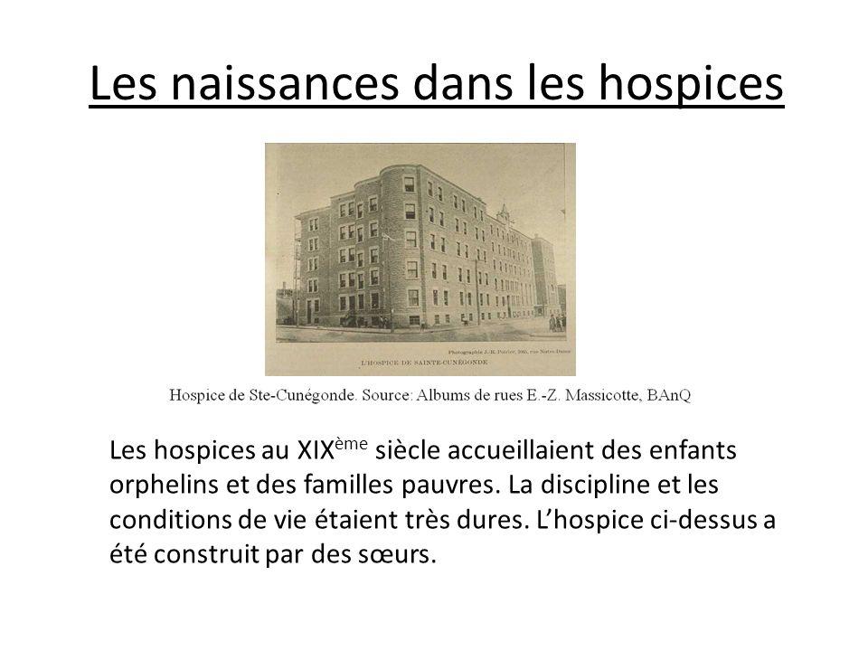 Les naissances dans les hospices