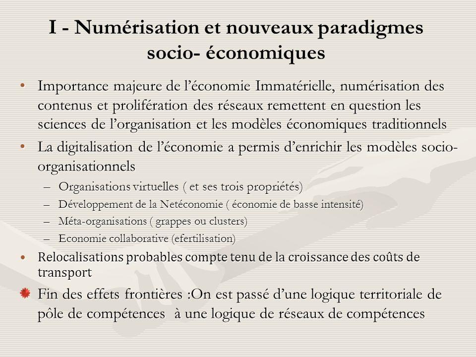 I - Numérisation et nouveaux paradigmes socio- économiques