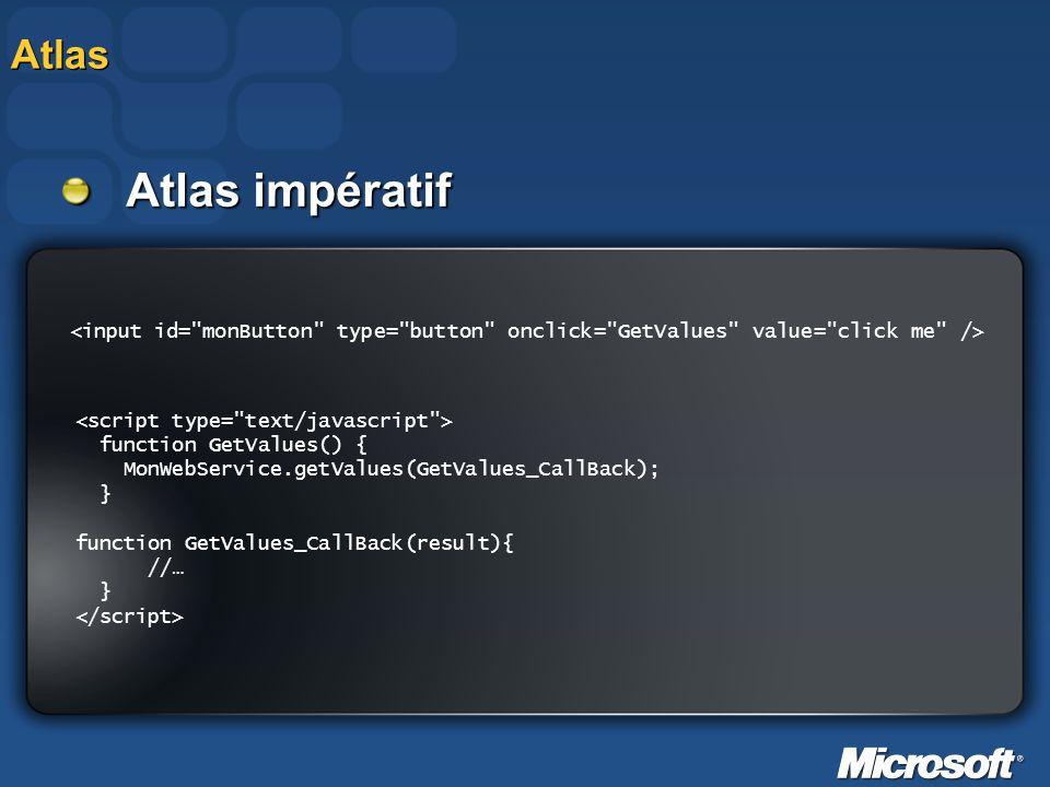 Atlas Atlas impératif. <input id= monButton type= button onclick= GetValues value= click me />