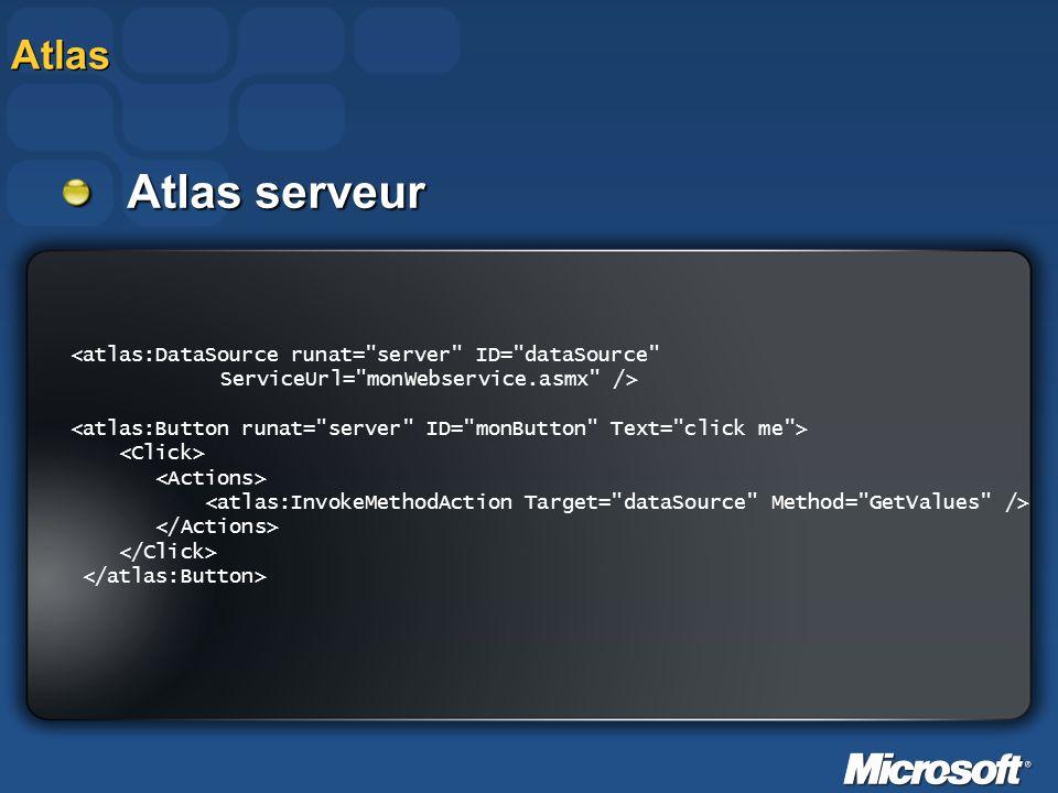 Atlas Atlas serveur. <atlas:DataSource runat= server ID= dataSource ServiceUrl= monWebservice.asmx />