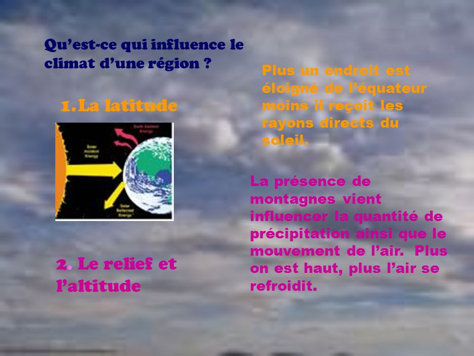 2. Le relief et l'altitude