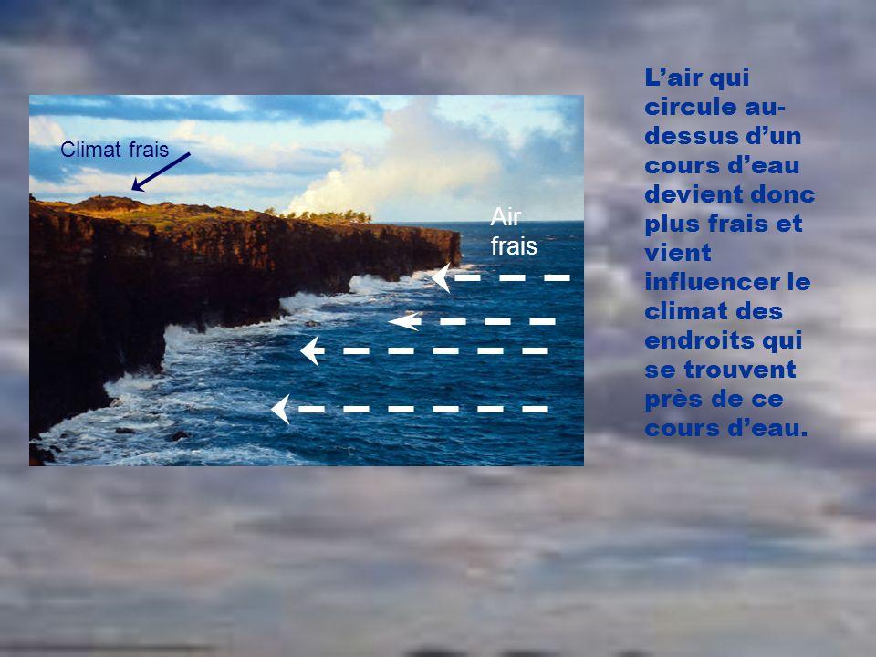 L'air qui circule au-dessus d'un cours d'eau devient donc plus frais et vient influencer le climat des endroits qui se trouvent près de ce cours d'eau.
