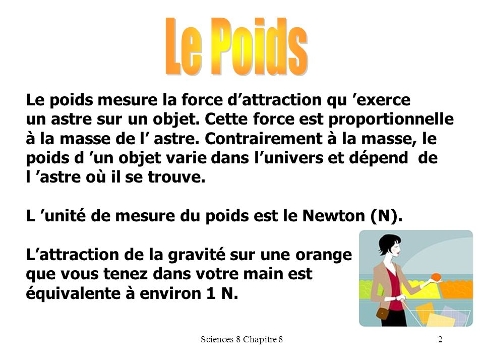 Le Poids Le poids mesure la force d'attraction qu 'exerce