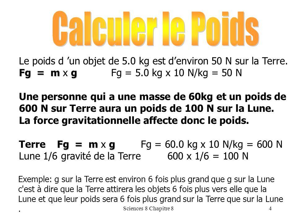 Calculer le Poids Le poids d 'un objet de 5.0 kg est d'environ 50 N sur la Terre. Fg = m x g Fg = 5.0 kg x 10 N/kg = 50 N.