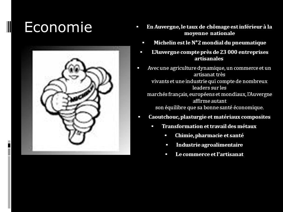 Economie En Auvergne, le taux de chômage est inférieur à la moyenne nationale. Michelin est le N°2 mondial du pneumatique.