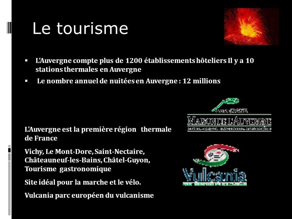 Le tourisme L Auvergne compte plus de 1200 établissements hôteliers Il y a 10 stations thermales en Auvergne.