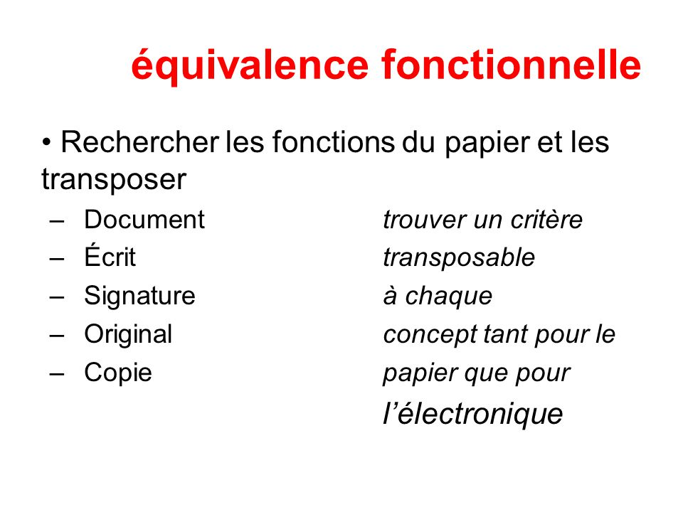 équivalence fonctionnelle