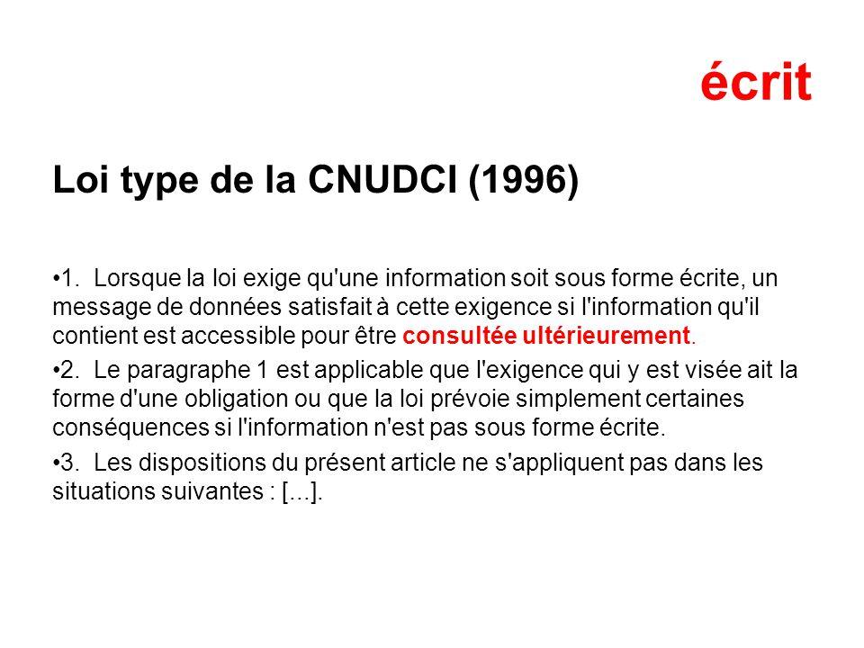 écrit Loi type de la CNUDCI (1996)