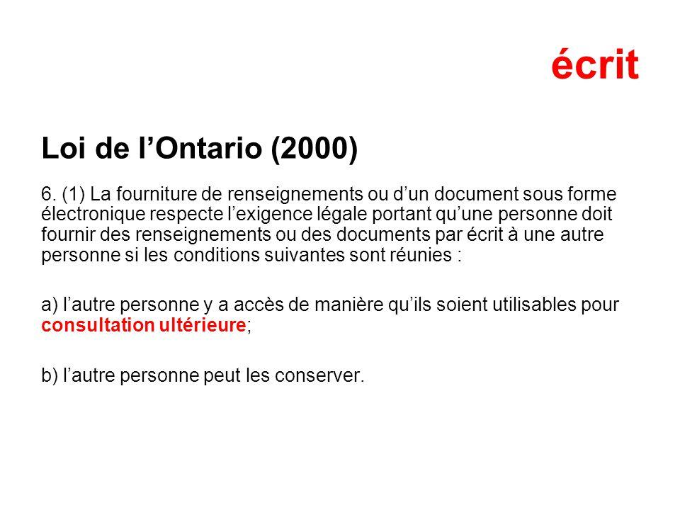 écrit Loi de l'Ontario (2000)