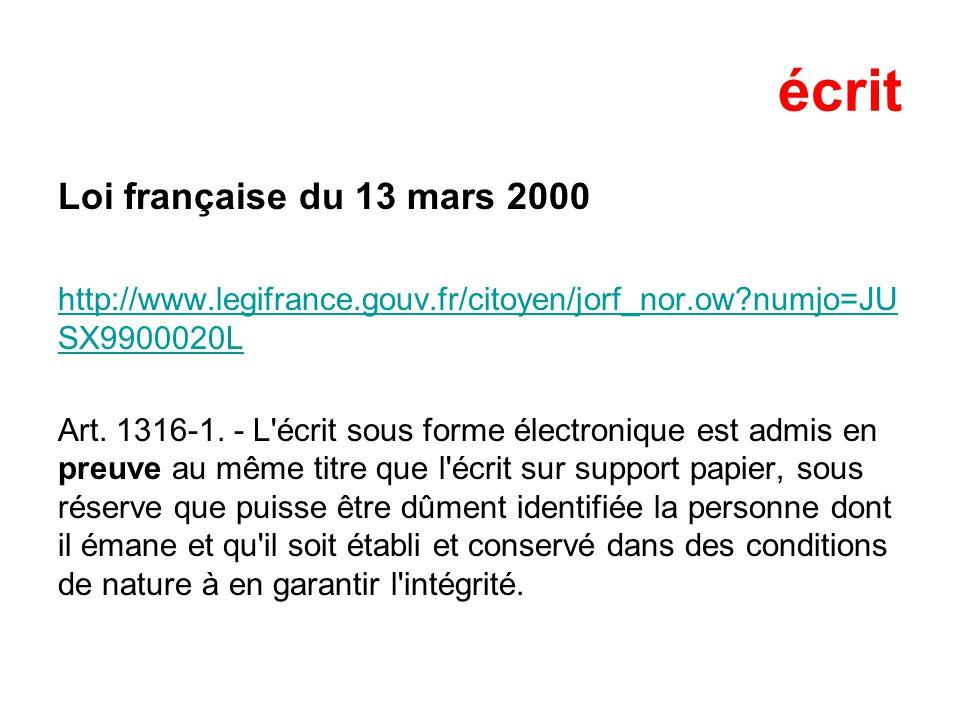 écrit Loi française du 13 mars 2000