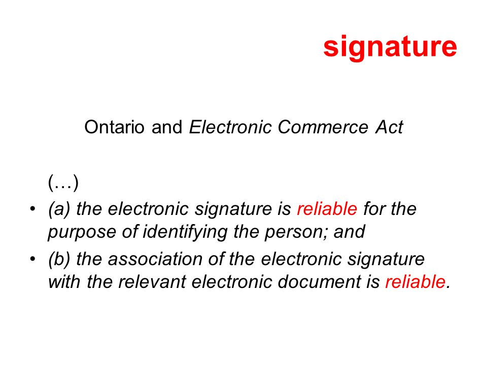 Ontario and Electronic Commerce Act