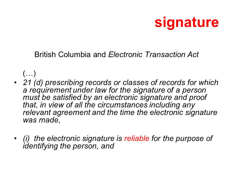 British Columbia and Electronic Transaction Act