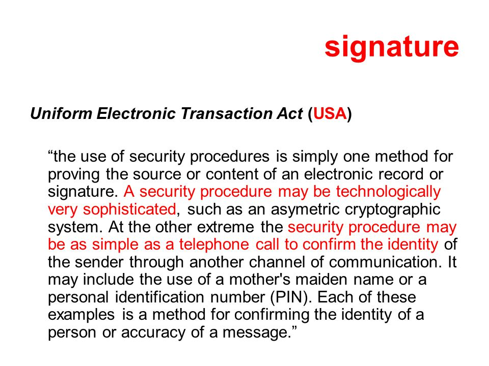 signature Uniform Electronic Transaction Act (USA)