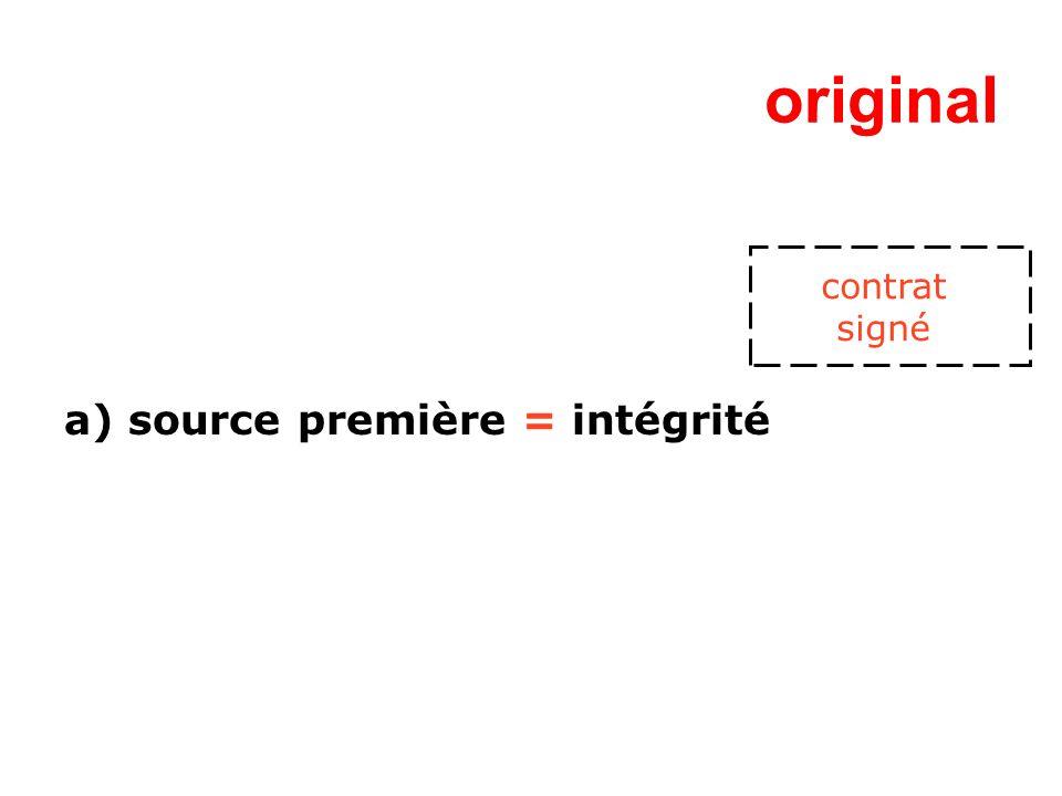original a) source première = intégrité contrat signé