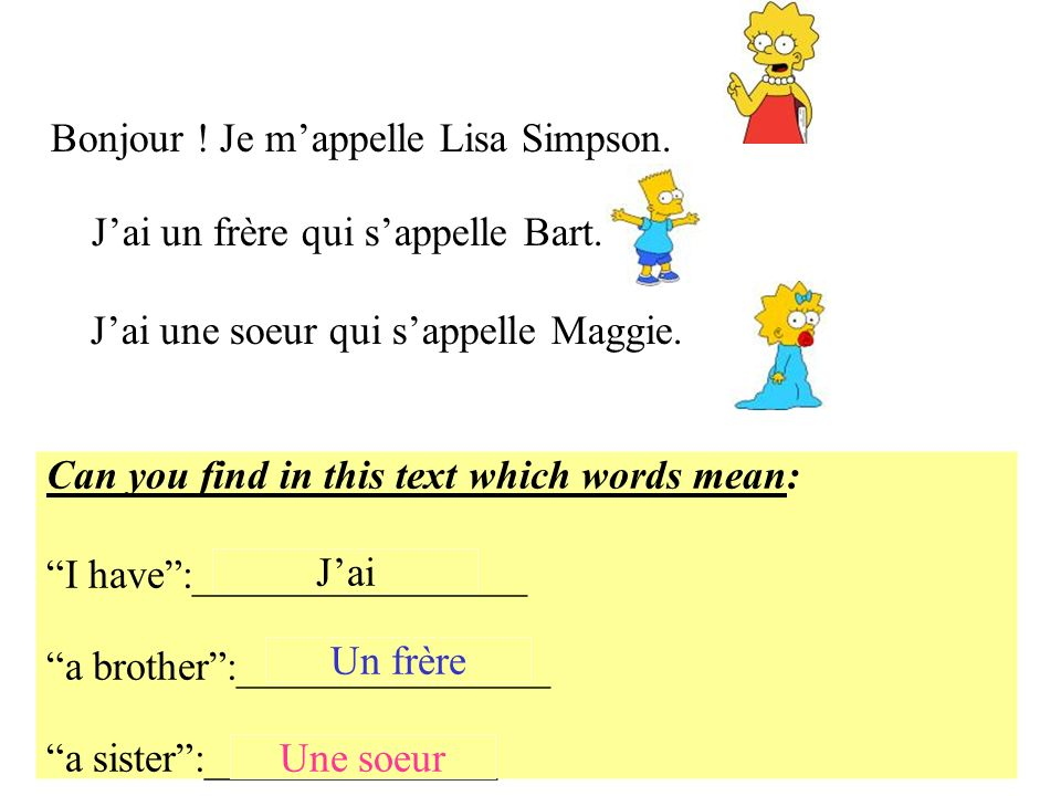 Bonjour ! Je m'appelle Lisa Simpson.