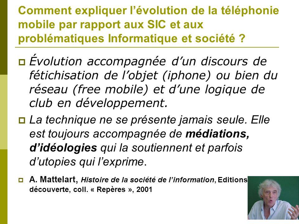 Comment expliquer l'évolution de la téléphonie mobile par rapport aux SIC et aux problématiques Informatique et société