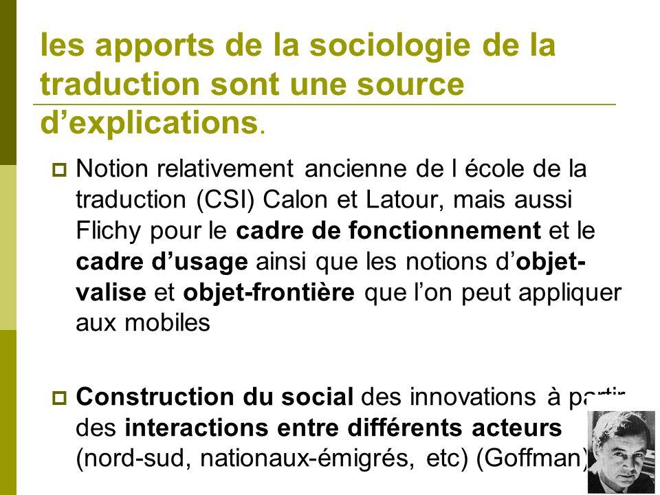 les apports de la sociologie de la traduction sont une source d'explications.