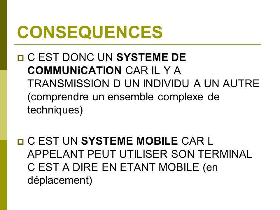 CONSEQUENCES C EST DONC UN SYSTEME DE COMMUNiCATION CAR IL Y A TRANSMISSION D UN INDIVIDU A UN AUTRE (comprendre un ensemble complexe de techniques)