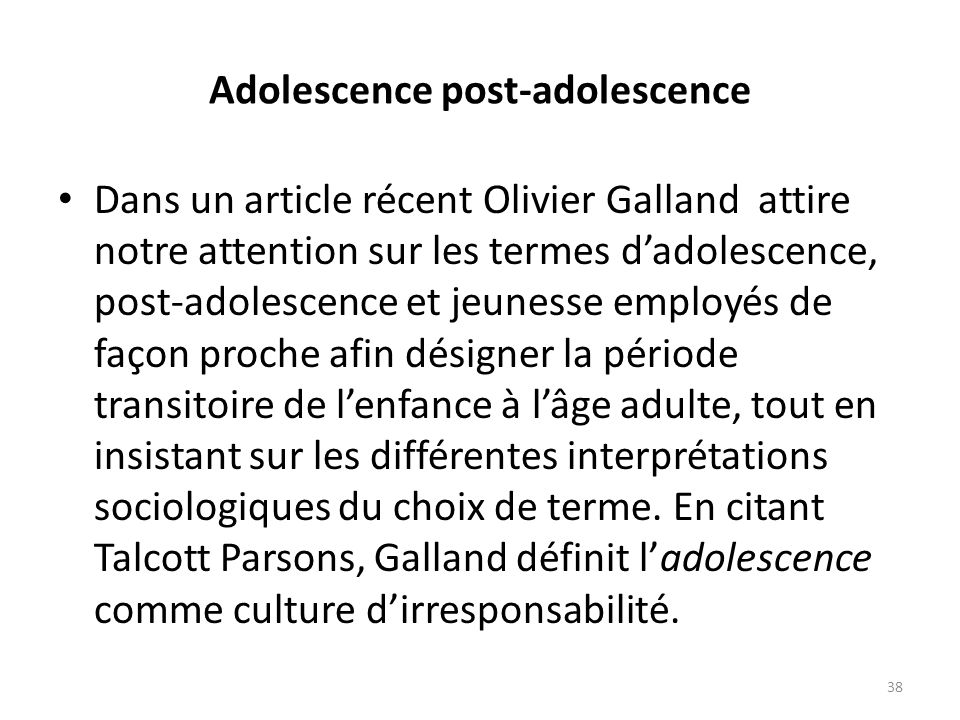 Adolescence post-adolescence