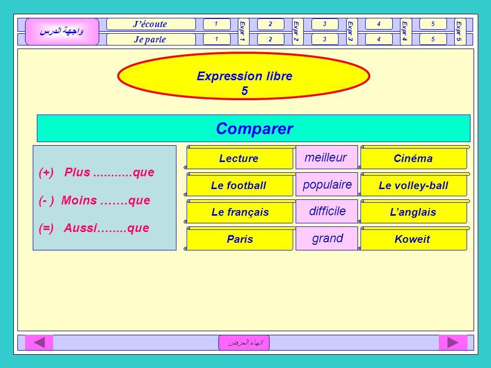 Comparer Expression libre 5 meilleur (+) Plus ...........que