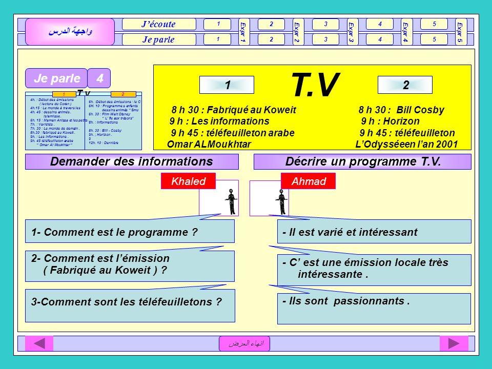 T.V Je parle 4 1 2 Demander des informations Décrire un programme T.V.