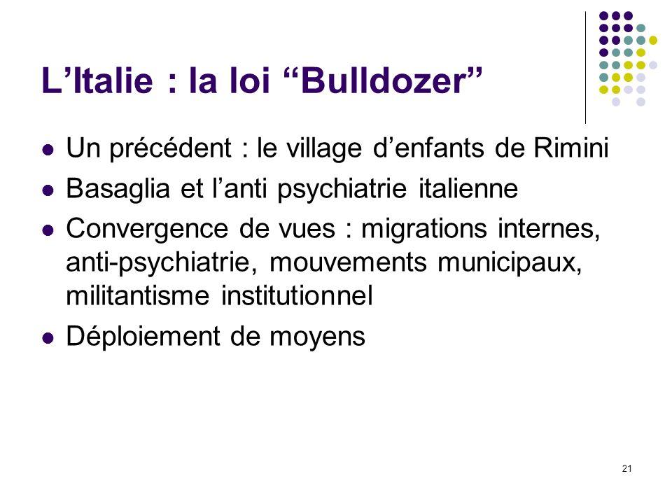 L'Italie : la loi Bulldozer