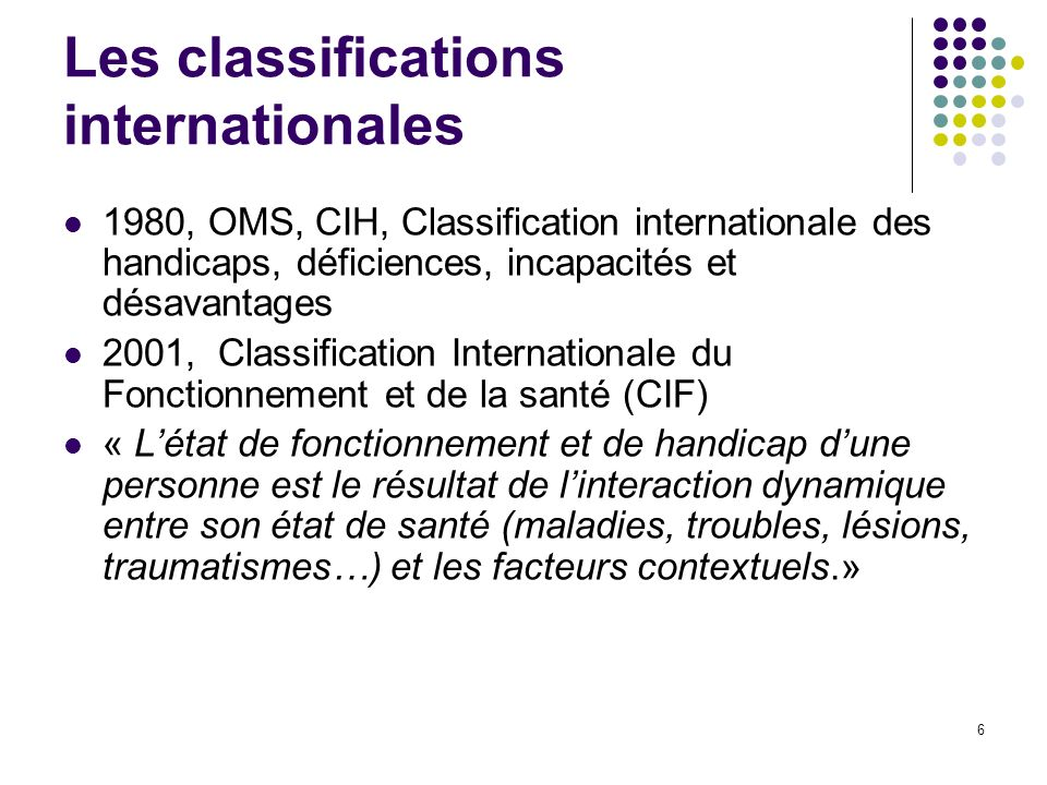 Les classifications internationales