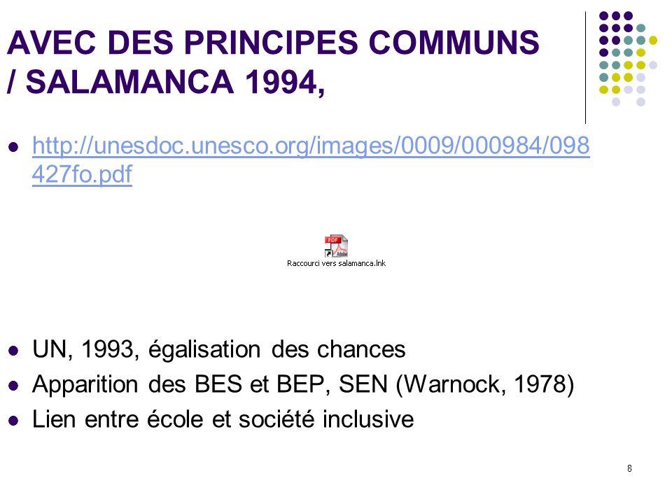 AVEC DES PRINCIPES COMMUNS / SALAMANCA 1994,