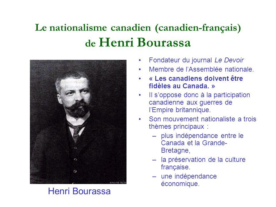 Le nationalisme canadien (canadien-français) de Henri Bourassa