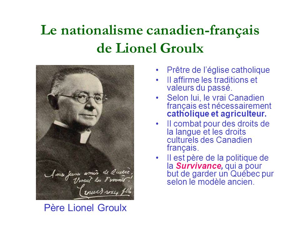 Le nationalisme canadien-français de Lionel Groulx
