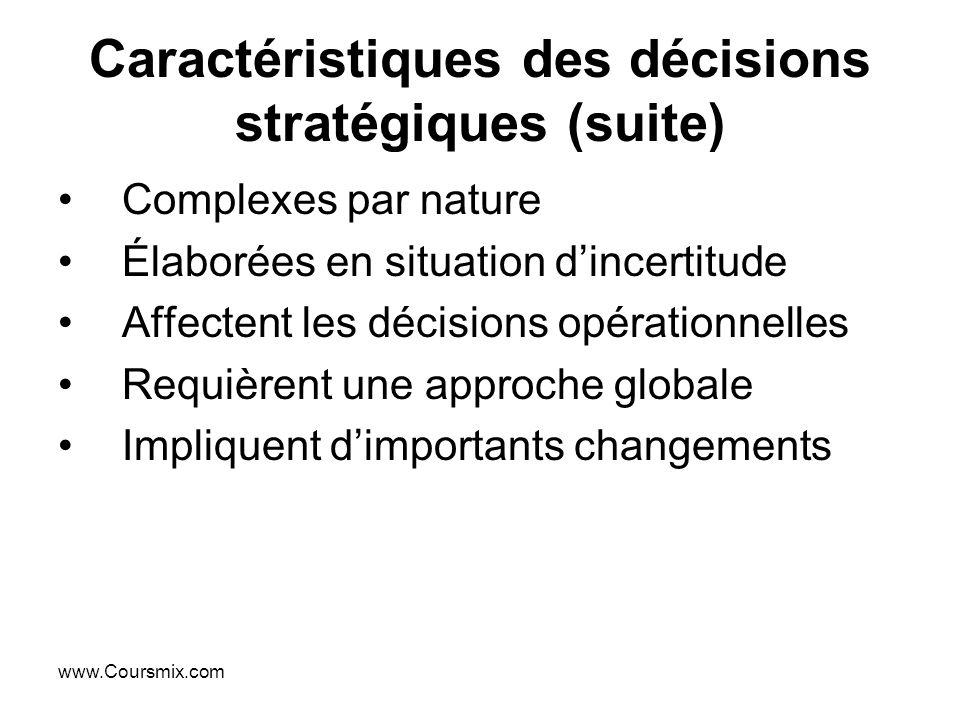 Caractéristiques des décisions stratégiques (suite)