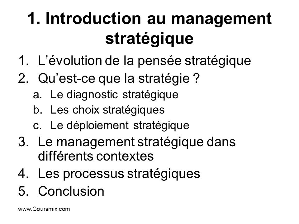 1. Introduction au management stratégique