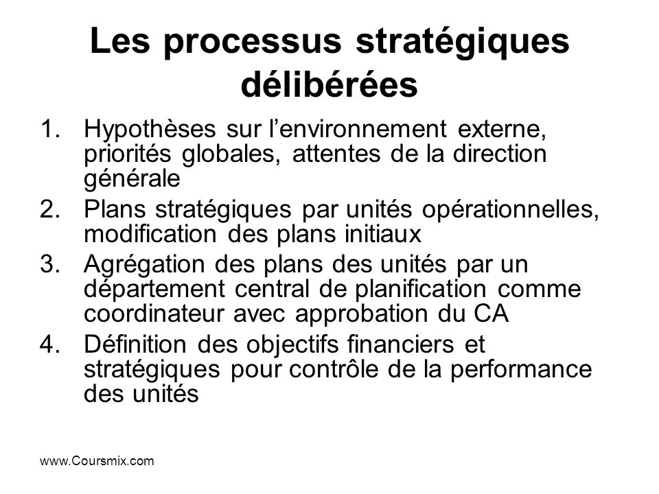 Les processus stratégiques délibérées