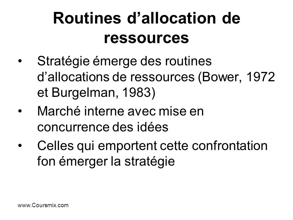 Routines d'allocation de ressources