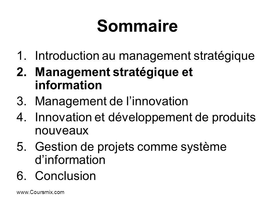 Sommaire Introduction au management stratégique